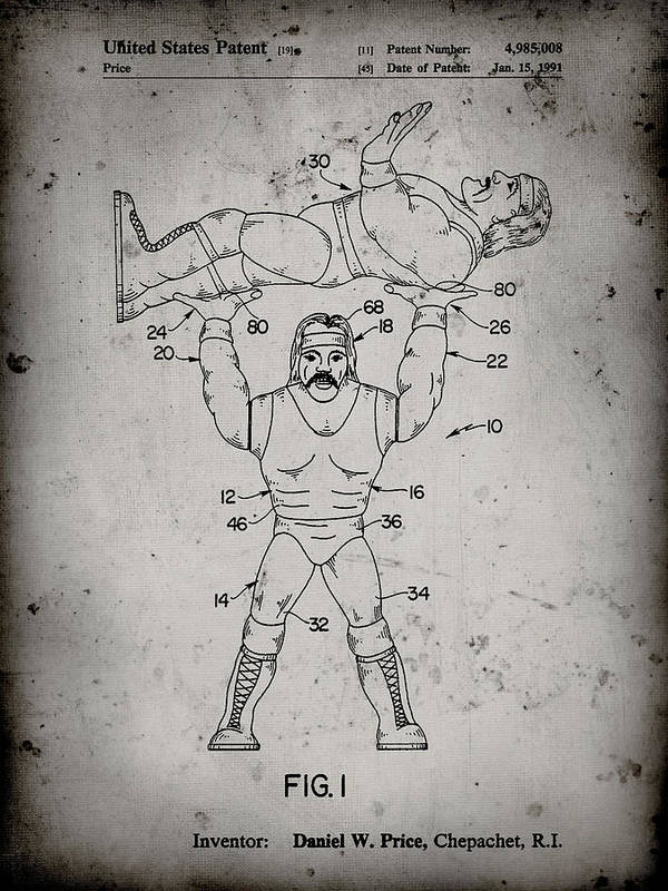 Pp885-faded Grey Hulk Hogan Wrestling Action Figure Patent Poster Poster featuring the digital art Pp885-faded Grey Hulk Hogan Wrestling Action Figure Patent Poster by Cole Borders