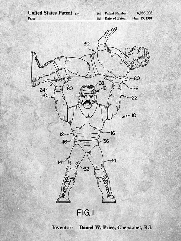 Pp885-slate Hulk Hogan Wrestling Action Figure Patent Poster Poster featuring the digital art Pp885-slate Hulk Hogan Wrestling Action Figure Patent Poster by Cole Borders