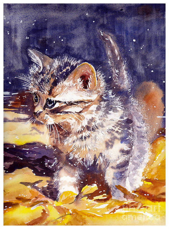 Little Poster featuring the painting Pussy On A Yellow Blanket by Suzann Sines