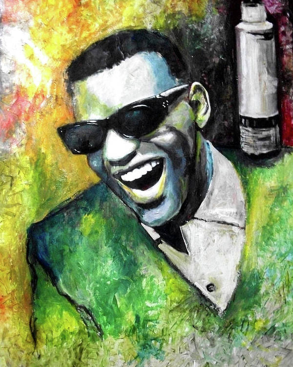 Ray Poster featuring the painting Ray Charles by Marcelo Neira