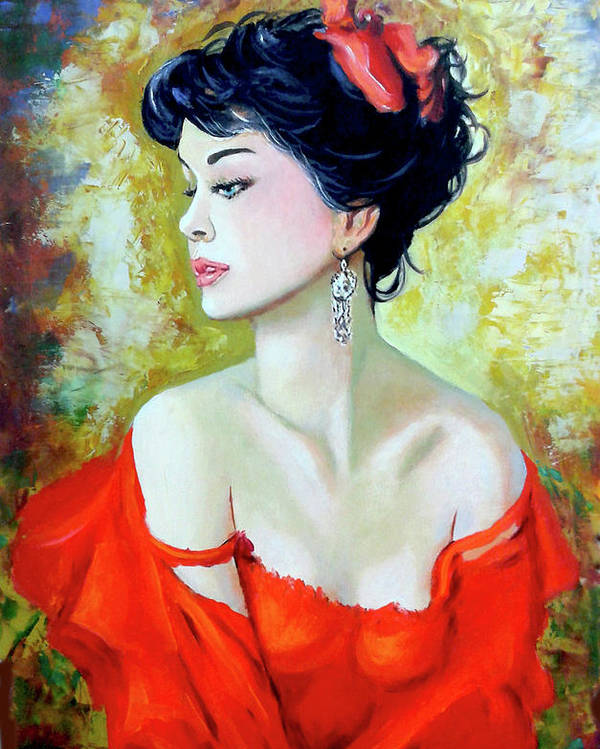 Lady Poster featuring the painting Red Lady by Jose Manuel Abraham