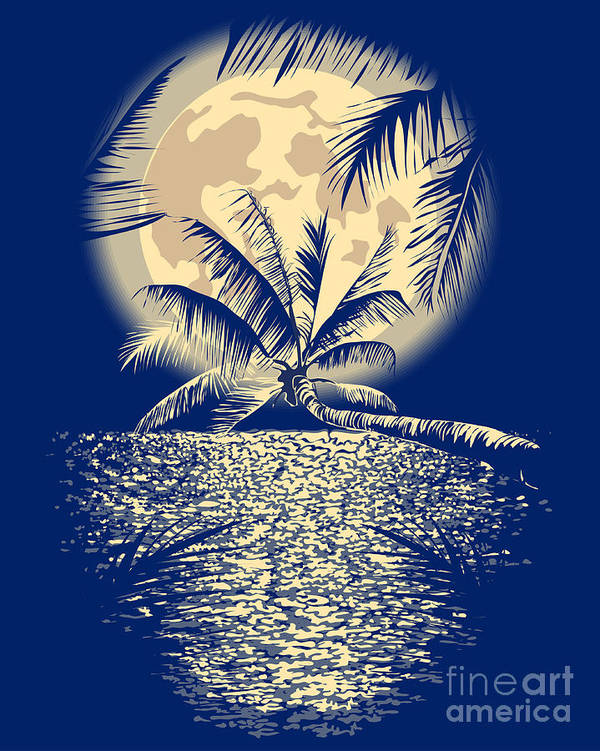 Sparkle Poster featuring the digital art Reflected In The Ocean Full Moon On by Yulianas
