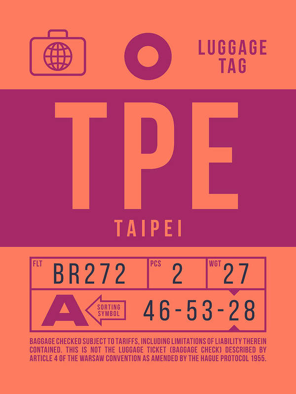 Airline Poster featuring the digital art Retro Airline Luggage Tag 2.0 - Tpe Taipei Taoyuan Airport Taiwan by Ivan Krpan