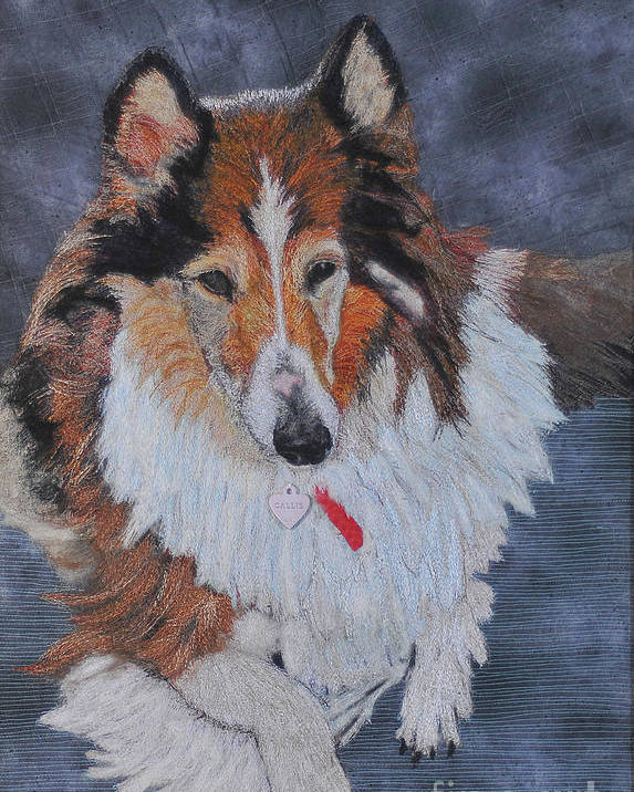 Rough Collie Poster featuring the tapestry - textile rough Collie by Dolores Fegan