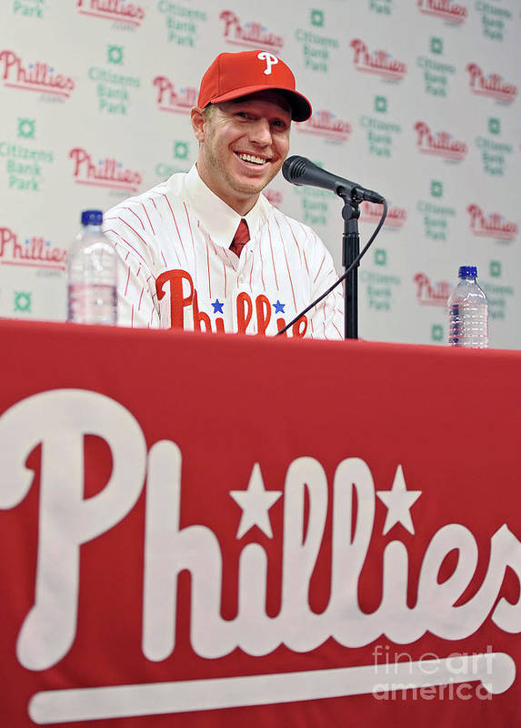 People Poster featuring the photograph Roy Halladay Press Conference by Drew Hallowell