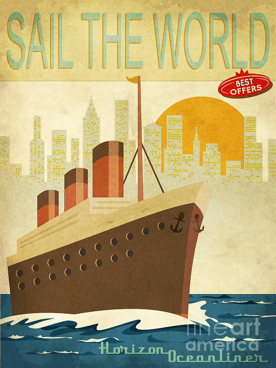 Commercial Poster featuring the digital art Sail The World - Vintage Poster With by Lanan