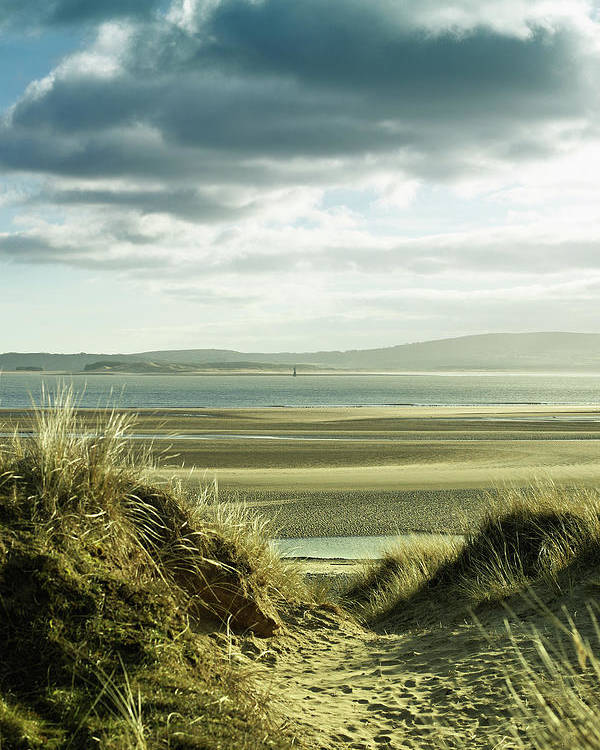 Sand Dune Poster featuring the photograph Sand Dunes With Empty Beach And by Tirc83