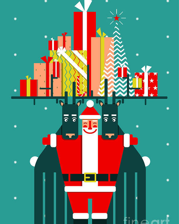 Symbol Poster featuring the digital art Santa With Deers Gifts And Presents by Popmarleo