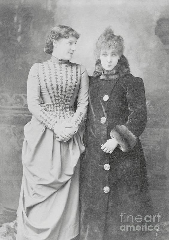 Sarah Bernhardt Poster featuring the photograph Sarah Bernhardt With Lillie Langtry by Bettmann