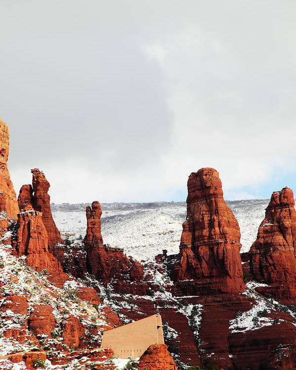 Scenics Poster featuring the photograph Sedona Chapel Winter Madonna Religion by Sassy1902