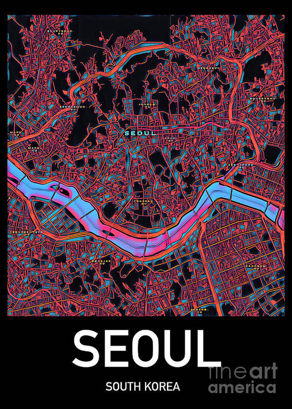 Seoul Poster featuring the digital art Seoul City Map by HELGE Art Gallery