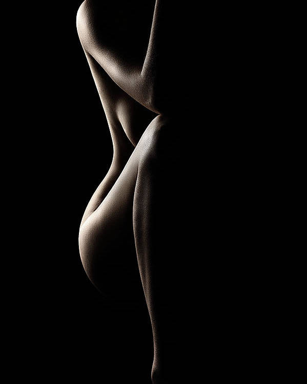 Nude Poster featuring the photograph Silhouette of nude woman by Johan Swanepoel