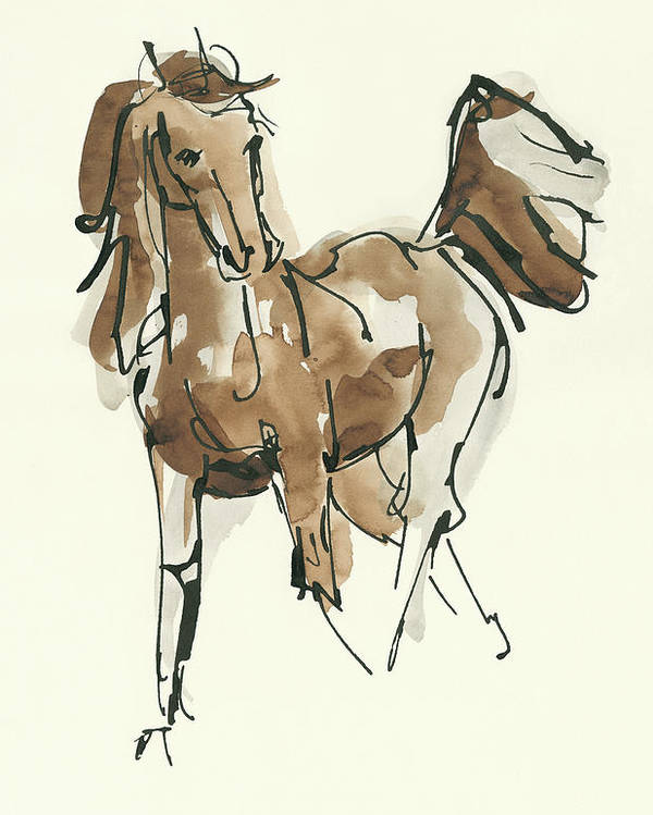 Animals Poster featuring the painting Sketchy Horse Vi by Chris Paschke