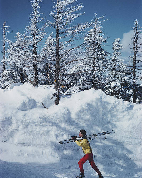 Skiing Poster featuring the photograph Skier In Vermont by Slim Aarons
