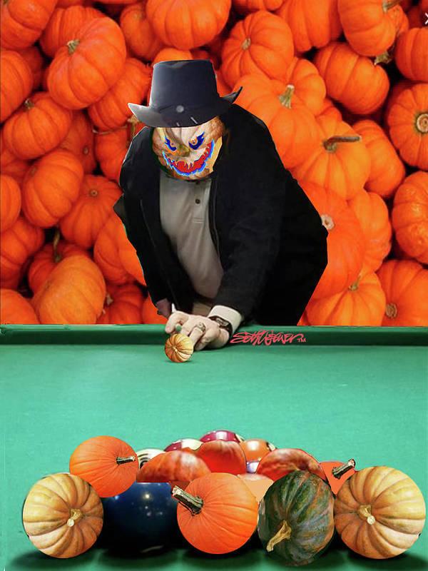 Spooky Pumpkin Pool Poster featuring the digital art Spooky Pumpkin Pool by Seth Weaver