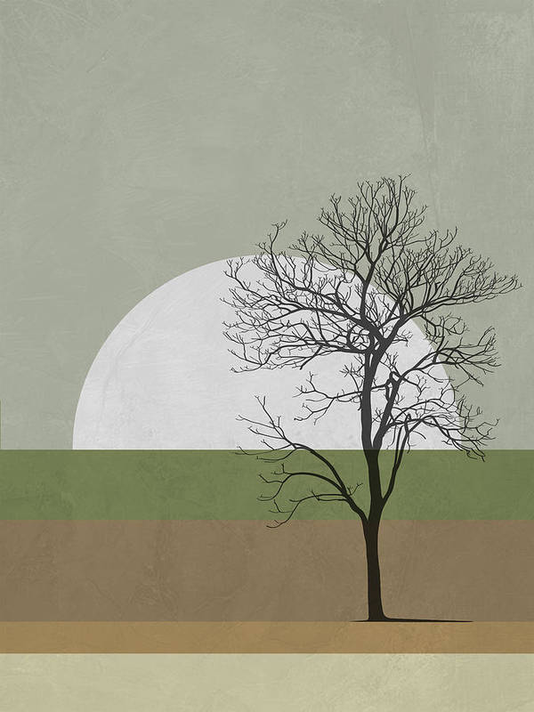 Tree Poster featuring the mixed media Spring Sunset Tree by Naxart Studio