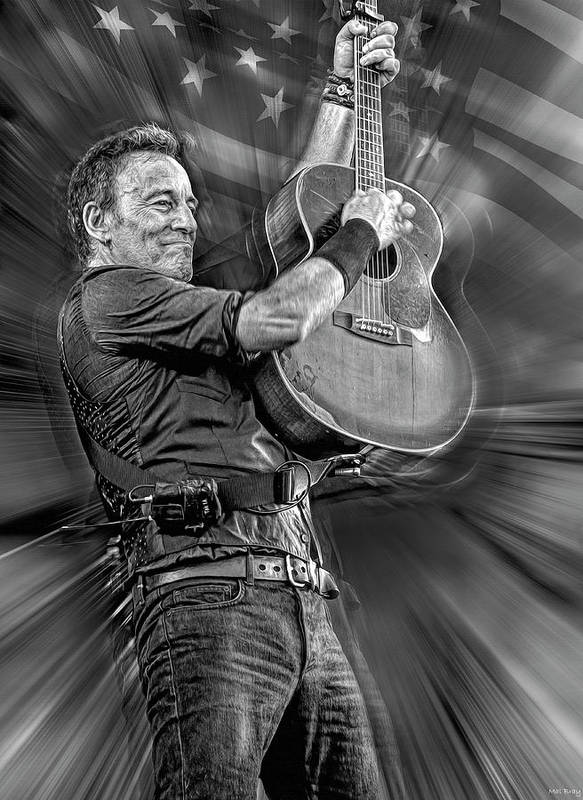 Bruce Springsteen Poster featuring the mixed media Springsteen Live by Mal Bray