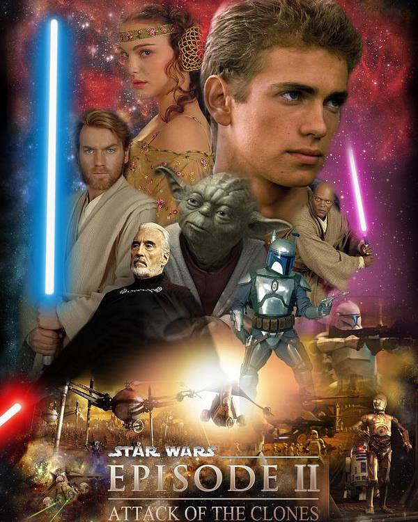 Star Wars Episode Ii Poster featuring the digital art Star Wars Episode II by Geek N Rock