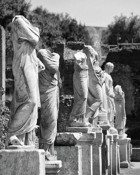 Statue Row House of the Vestal Virgins Roman Forum Rome Italy Black and White by Shawn O'Brien