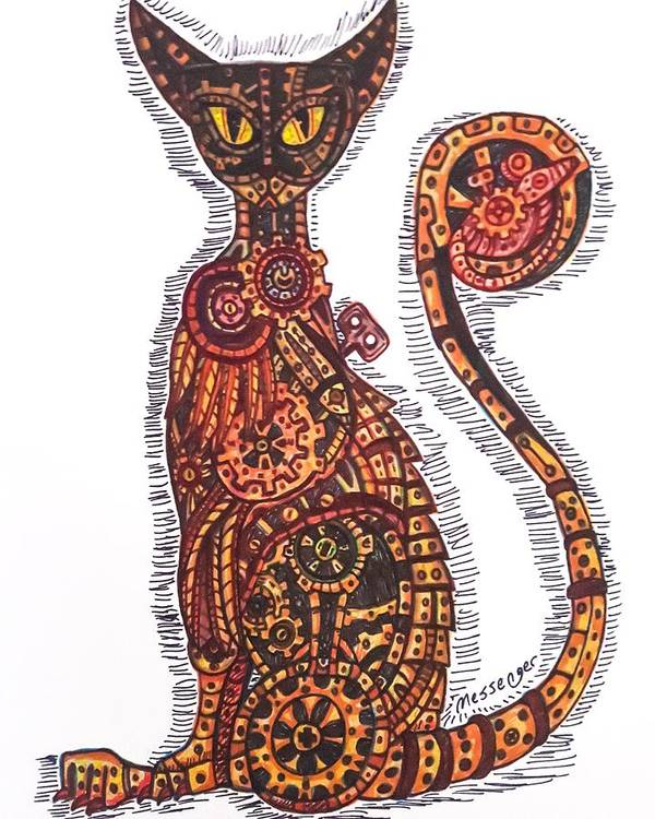 Cat Poster featuring the drawing Steam Punk Cat by Janine Messenger