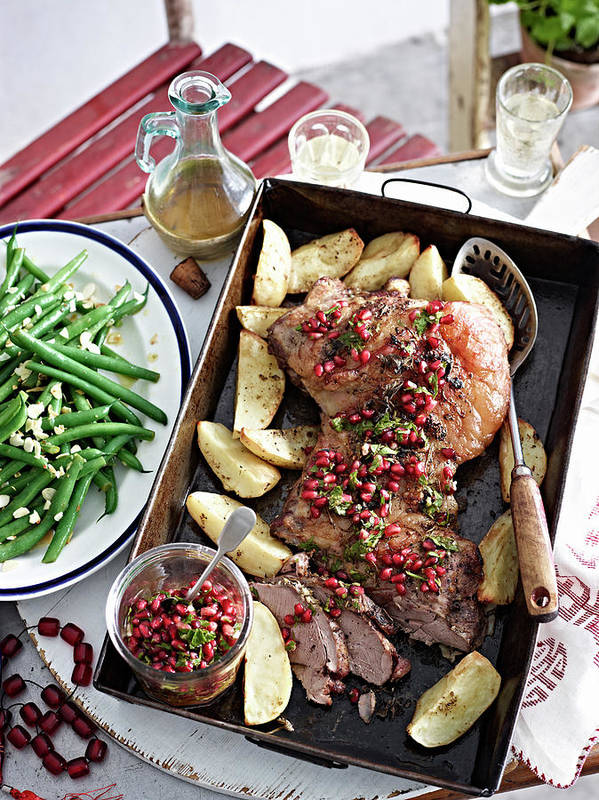 Spoon Poster featuring the photograph Still Life Of Roast Lamb With by Brett Stevens