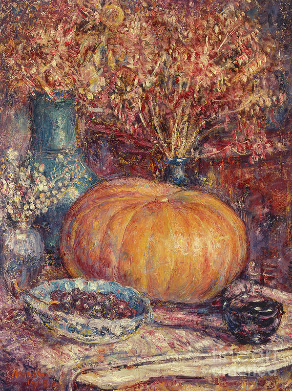 Still Life With Pumpkin Poster featuring the painting Still Life With Pumpkin by George Morren