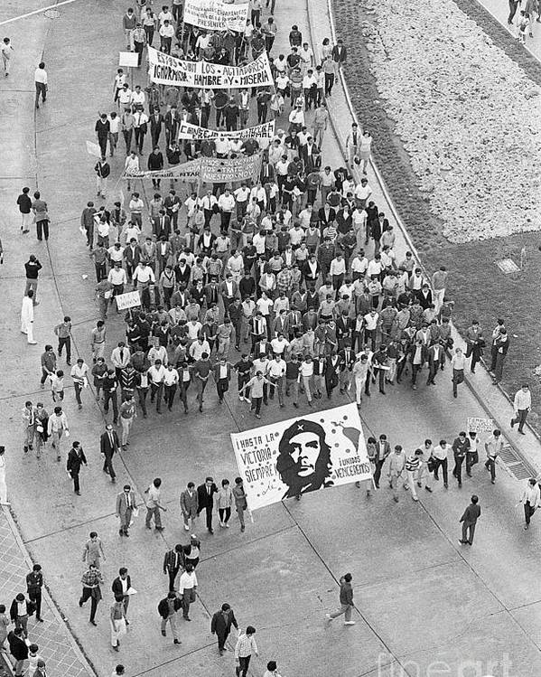 Crowd Of People Poster featuring the photograph Student Demonstrators In Mexico City by Bettmann
