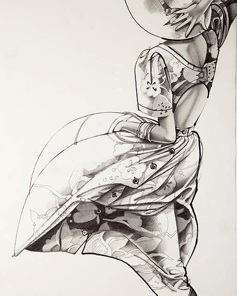 Black And White Fashion Illustration Poster featuring the painting Sunny Day by Barbara Tyler Alhfield