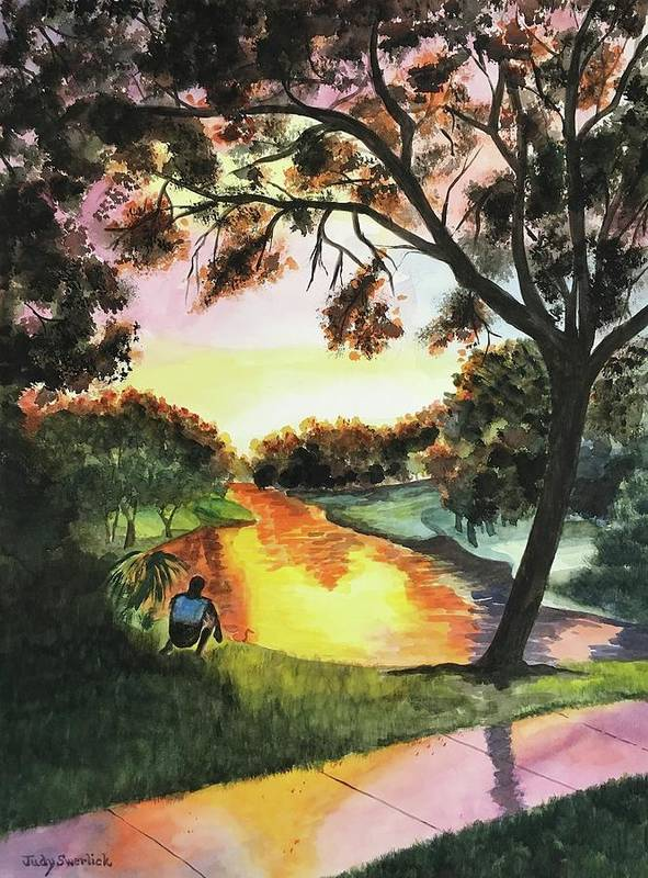 Sunset Poster featuring the painting Sunset After the Rain by Judy Swerlick