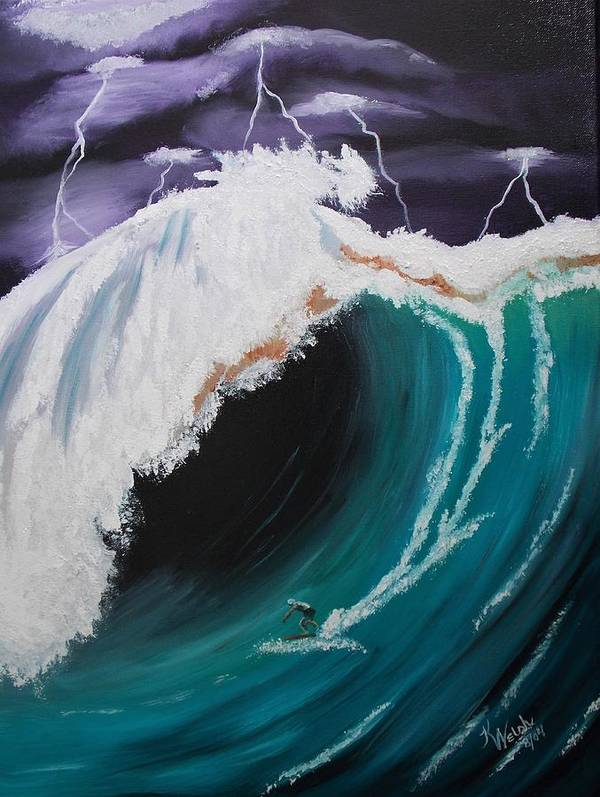 Surf Poster featuring the painting Surfing a Storm by Kathern Ware