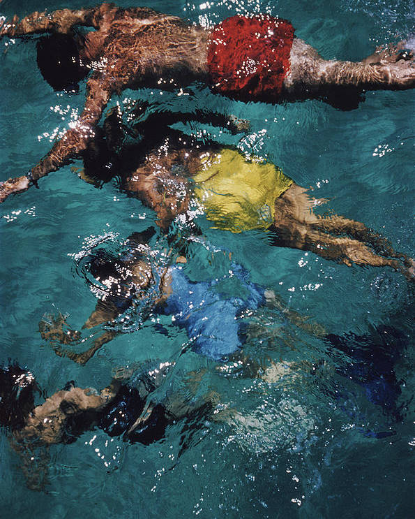 People Poster featuring the photograph Swimming In The Bahamas by Slim Aarons