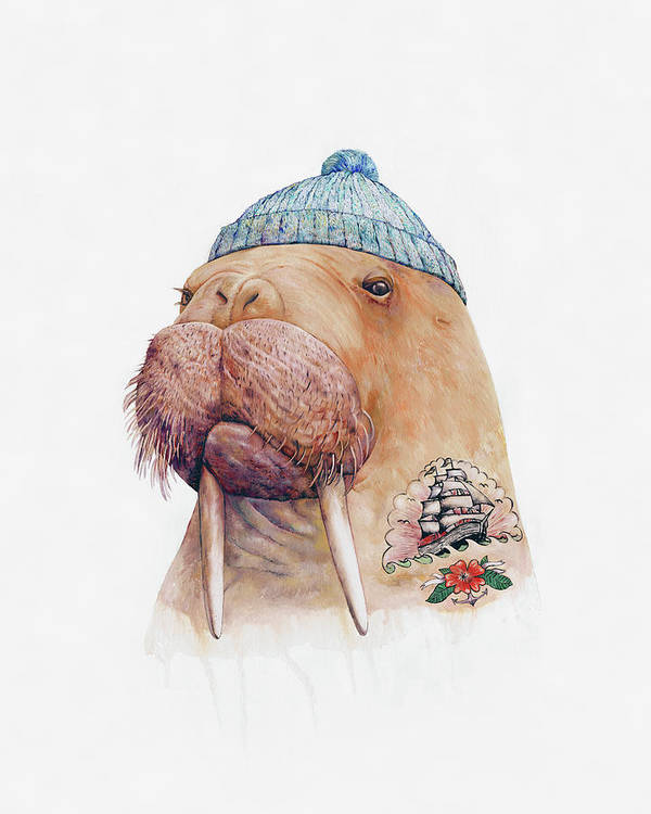 Tattoo Poster featuring the painting Tattooed Walrus by Animal Crew