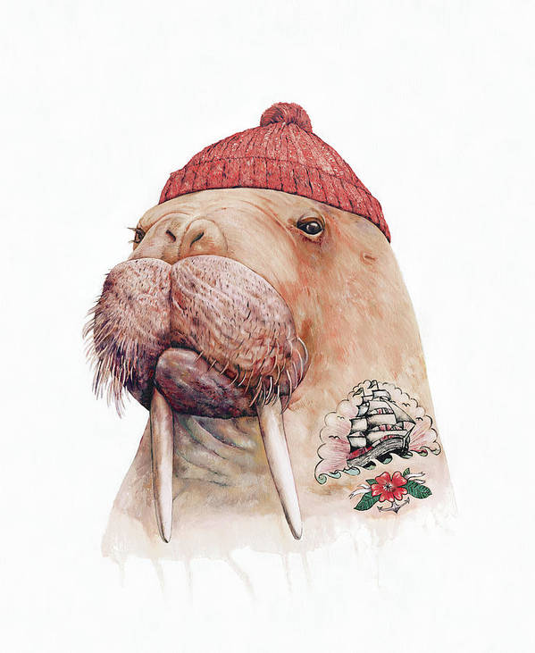 Poster featuring the painting Tattooed Walrus Red by Animal Crew