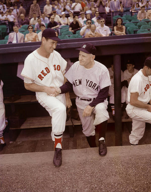 1950-1959 Poster featuring the photograph Ted Williams & Casey Stengel by Hulton Archive
