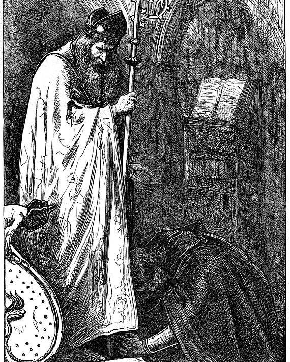 Pre-raphaelite Poster featuring the drawing The Bishop And The Knight, 1862. Artist by Print Collector