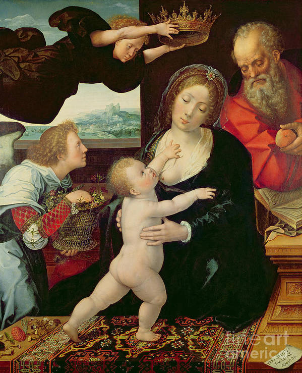 The Holy Family Poster featuring the painting The Holy Family, 1522 by Bernard van Orley
