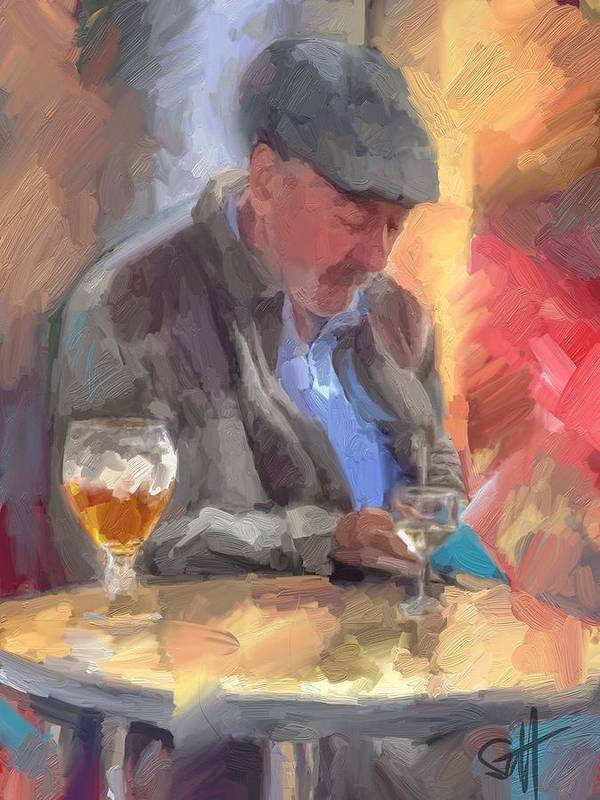 French Provence Cafe Letter Beret Poster featuring the digital art The Letter by Scott Waters
