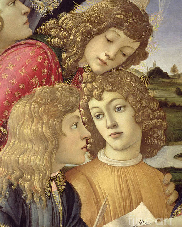 Sandro Botticelli Poster featuring the painting The Madonna Of The Magnificat, Detail Of Three Boys, 1482 by Sandro Botticelli
