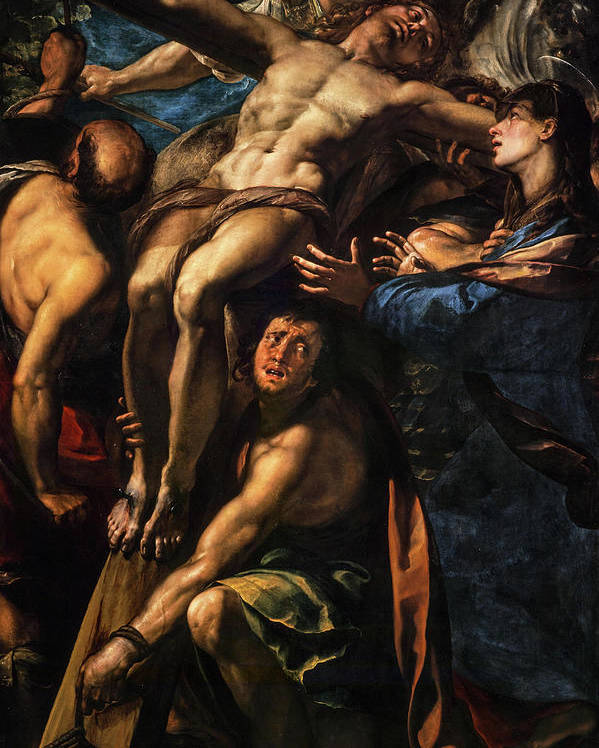 Giulio Cesare Procaccini Poster featuring the painting The Raising Of The Cross, 1620 by Giulio Cesare Procaccini