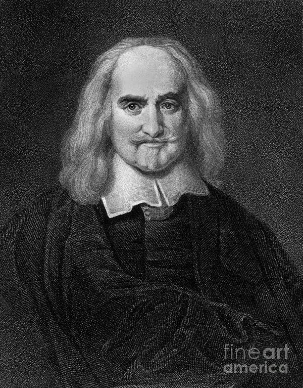 Historical Poster featuring the drawing Thomas Hobbes English Philosopher, Engraving by European School