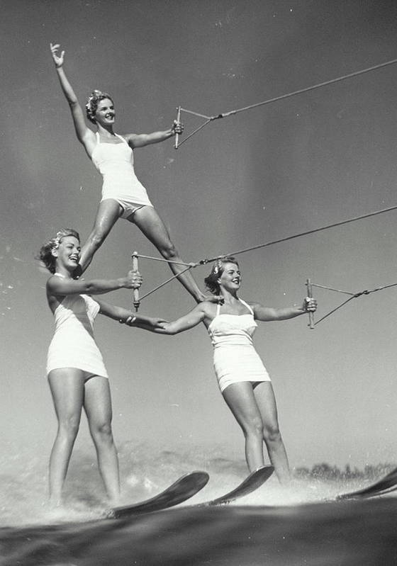 People Poster featuring the photograph Three Women Water Skiers Form Pyramid by Archive Holdings Inc.