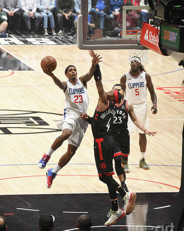 Nba Pro Basketball Poster featuring the photograph Toronto Raptors V Los Angeles Clippers by Adam Pantozzi