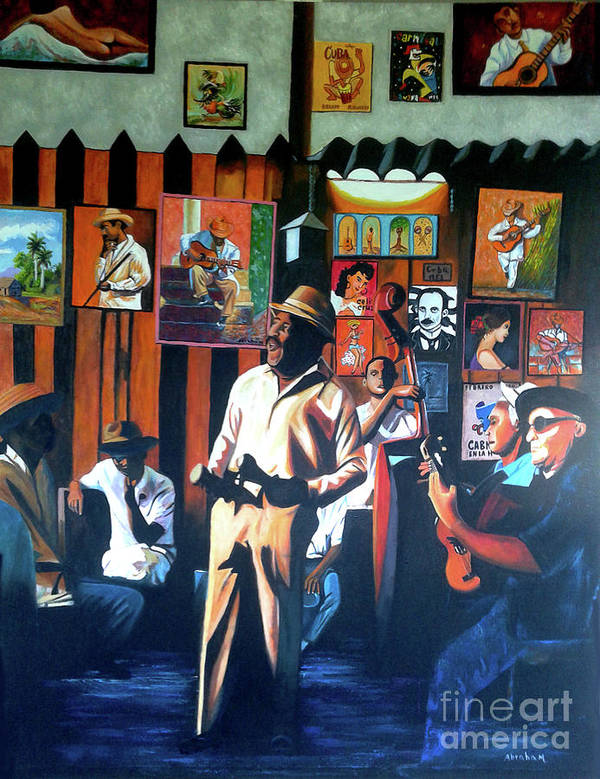 Bar Poster featuring the painting Uncle Bar by Jose Manuel Abraham
