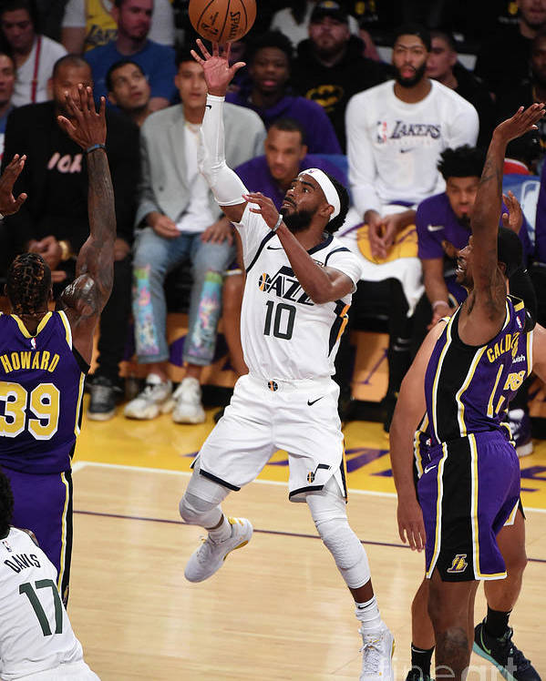 Nba Pro Basketball Poster featuring the photograph Utah Jazz V Los Angeles Lakers by Adam Pantozzi
