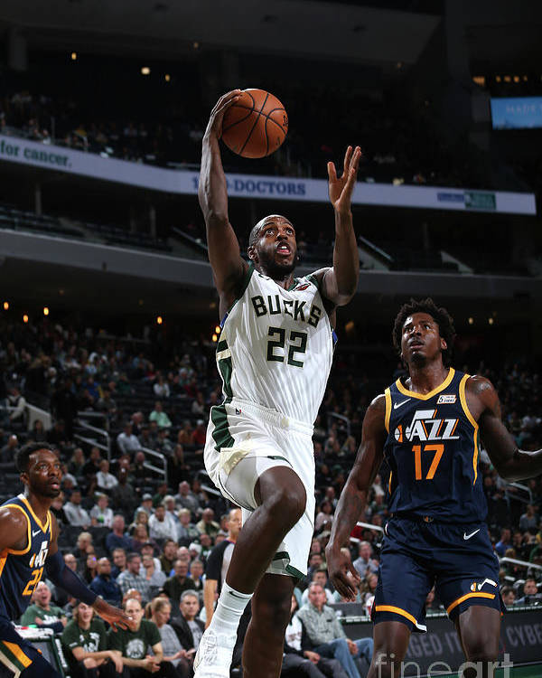 Nba Pro Basketball Poster featuring the photograph Utah Jazz V Milwaukee Bucks by Gary Dineen