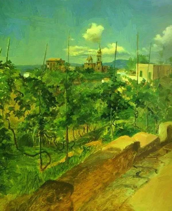 Vineyard Poster featuring the painting Vineyard At Vico by Ge Nikolai