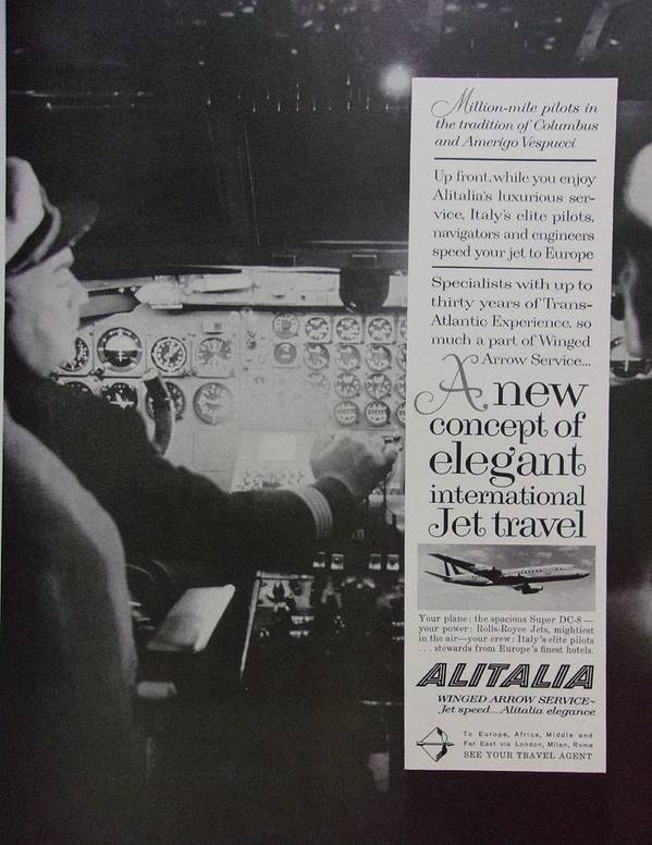 Vintage Poster featuring the photograph Vintage Alitalia Airline Advertisement by Mary Beth Welch