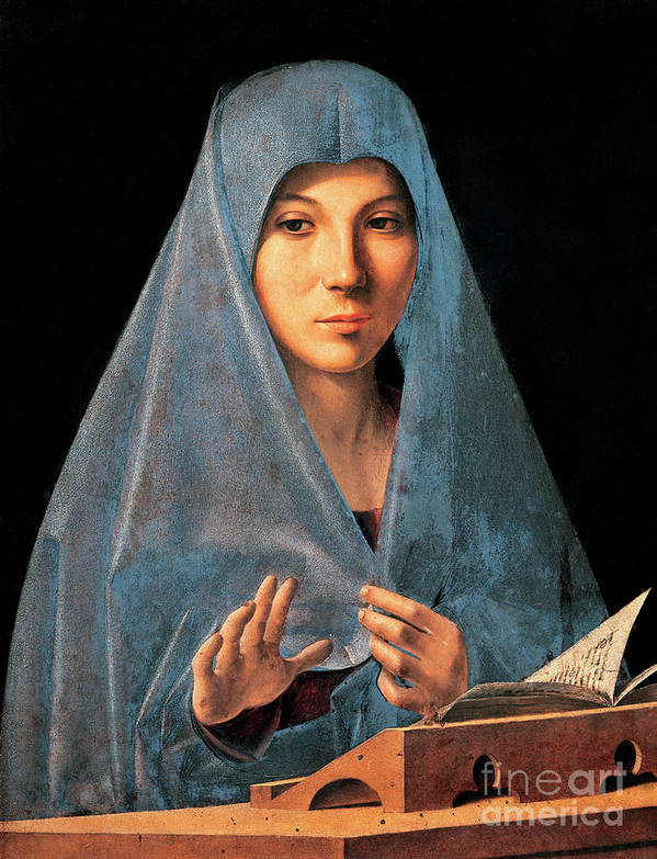Madonna Poster featuring the painting Virgin Of Annunciation Painting By Antonello Di Antonio Dit Antonello Da Messina by Antonello da Messina