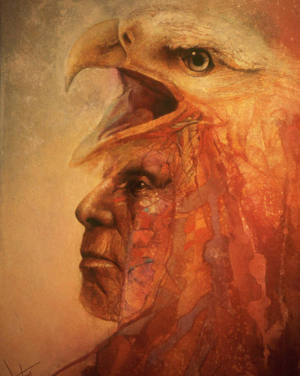 Indian Chief With Eagle On His Head Poster featuring the painting War Eagle by Denton Lund