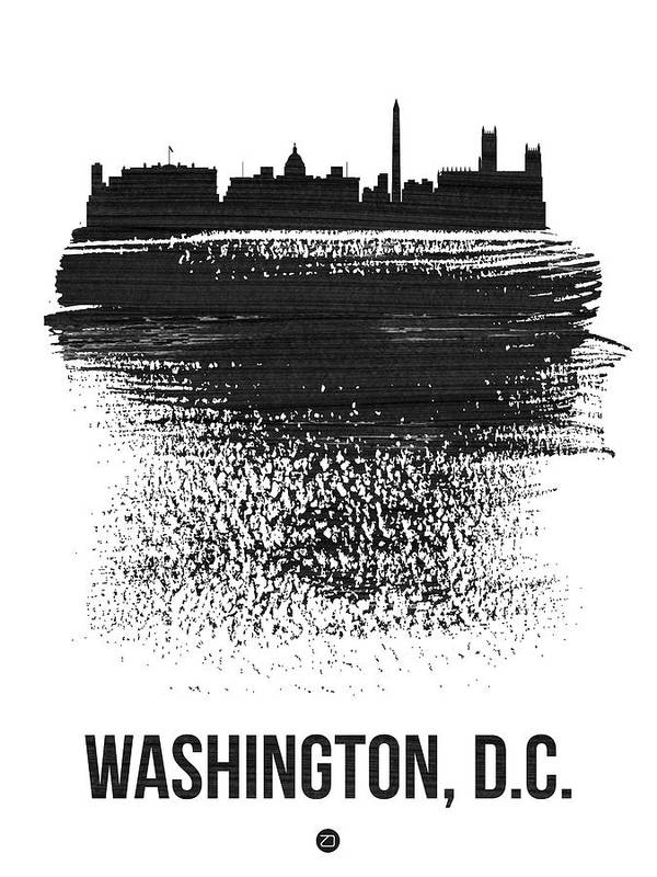 Washington D C Poster featuring the mixed media Washington, D.c. Skyline Brush Stroke Black by Naxart Studio